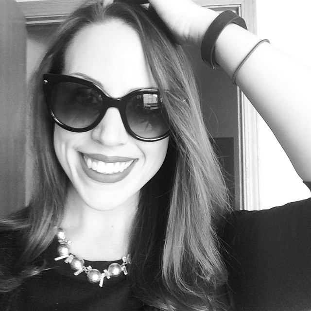 Today's essentials: big sunglasses, big jewelry, a FitBit, and a hair tie (the classiest of all accessories).