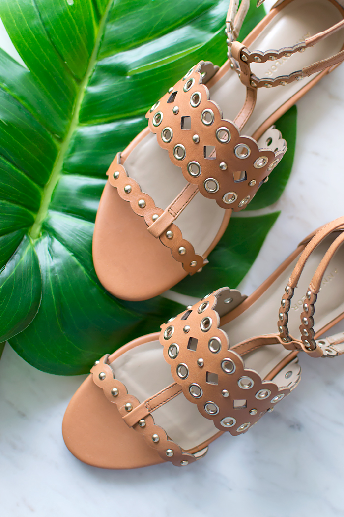 Ann Taylor Monica Grommet Strappy Leather Sandals