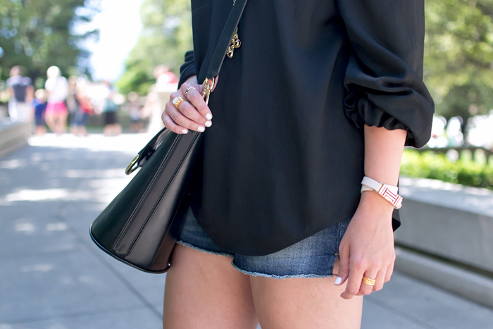 Miu Miu Sunglasses, Banana Republic Bucket Bag, Gap 1969 Best Girlfriend Denim Shorts