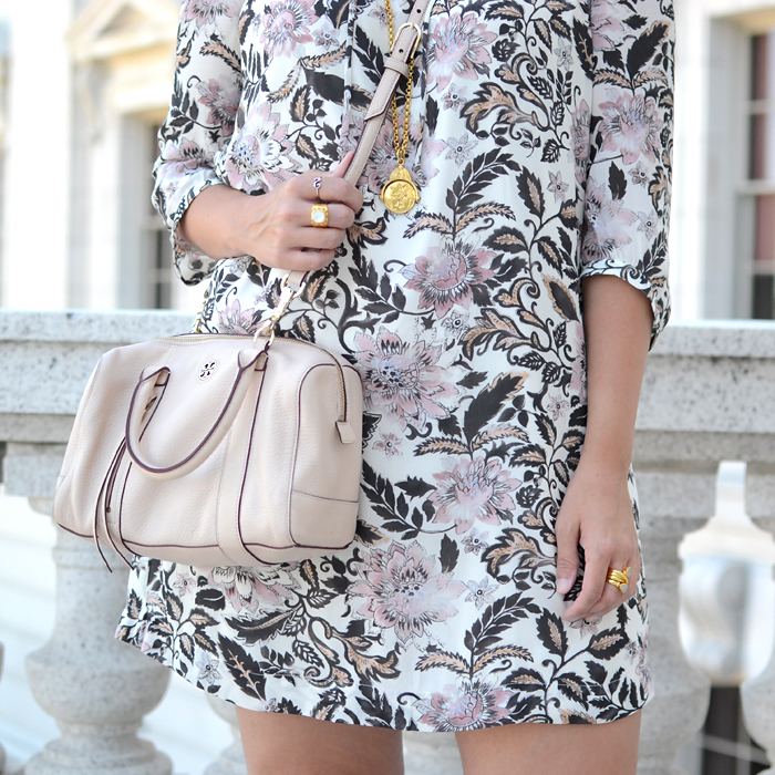 LOFT Woodblock Floral Shirtdress