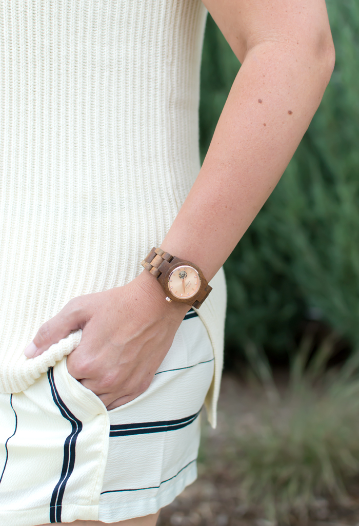J.Crew Sleeveless Tunic Sweater, JORD Wood Watch, Lou & Grey Coastal Fluid Shorts