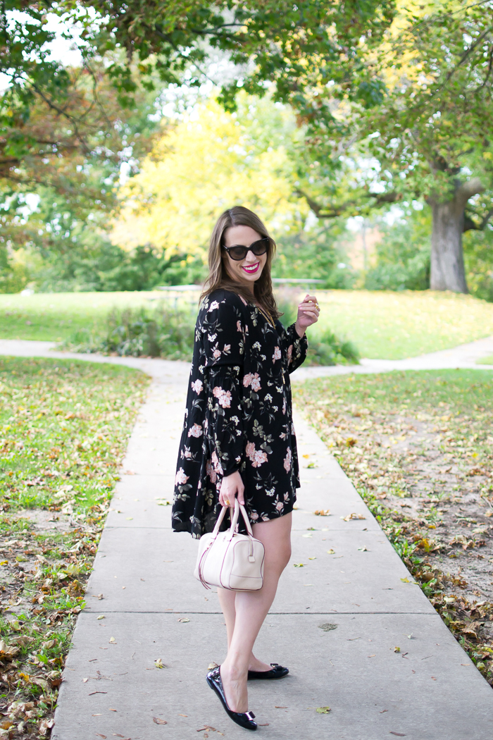 SheIn Black Lantern Sleeve Floral Print Shift Dress