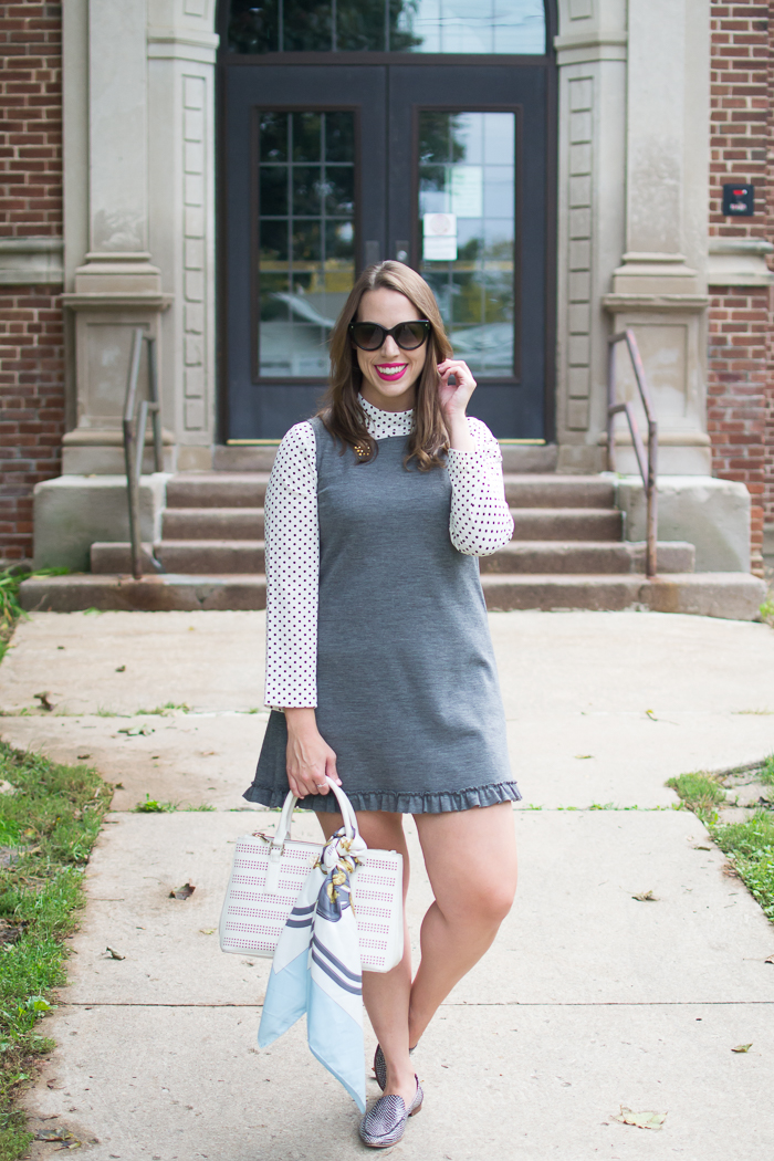 Grey Dress with Polka Dot Shirt