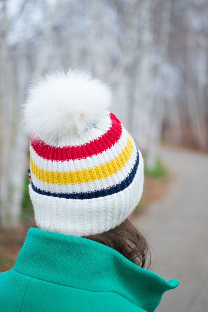 Hudson's Bay hat + J.Crew Stadium Cloth Cocoon Coat