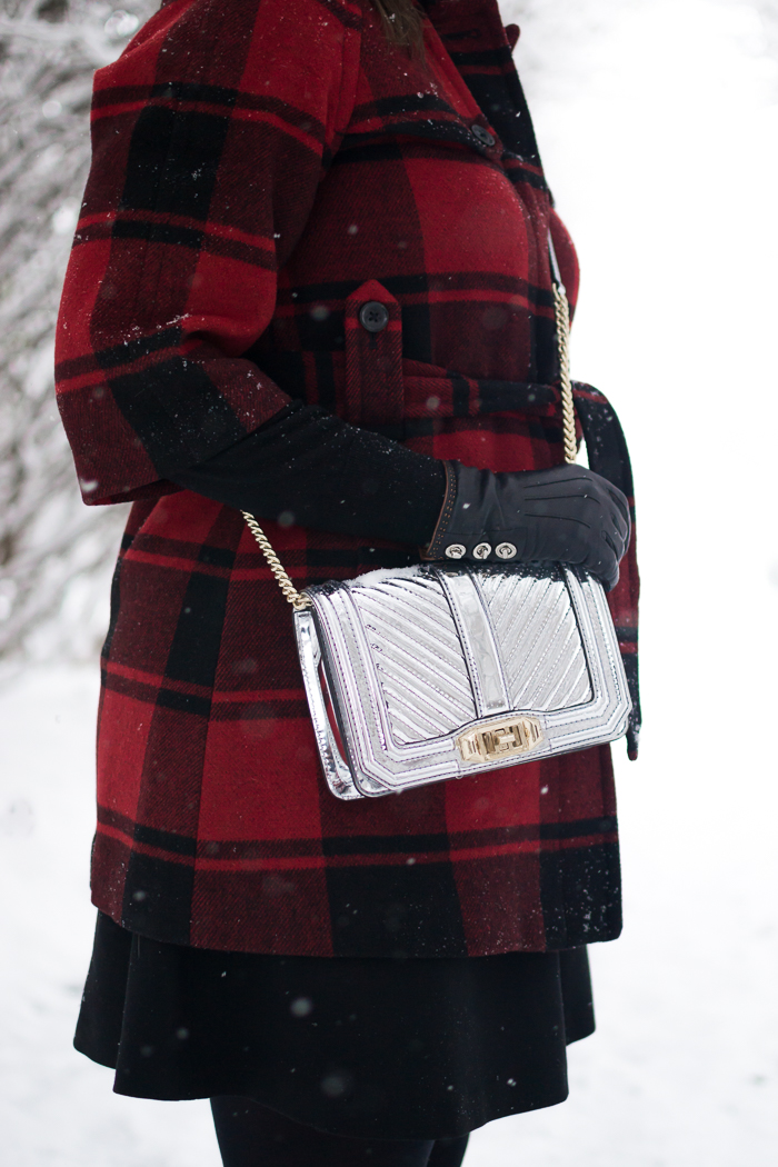Buffalo Plaid Coat + Rebecca Minkoff Small Love Crossbody + Hunter Huntress Wellies