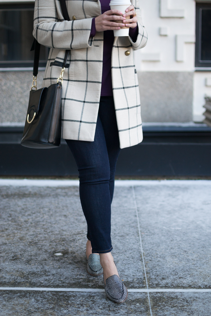 Banana Republic Signature Modal Tee + Gap True Skinny Ankle Jeans + Tory Burch Plaid Coat