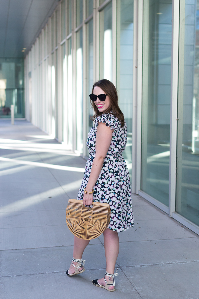 Banana Republic Floral Pleat-Trim Fit-and-Flare Dress + Cult Gaia Ark Bag + Soludos Espadrilles