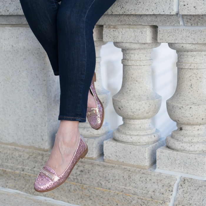 Kate Spade glitter loafers