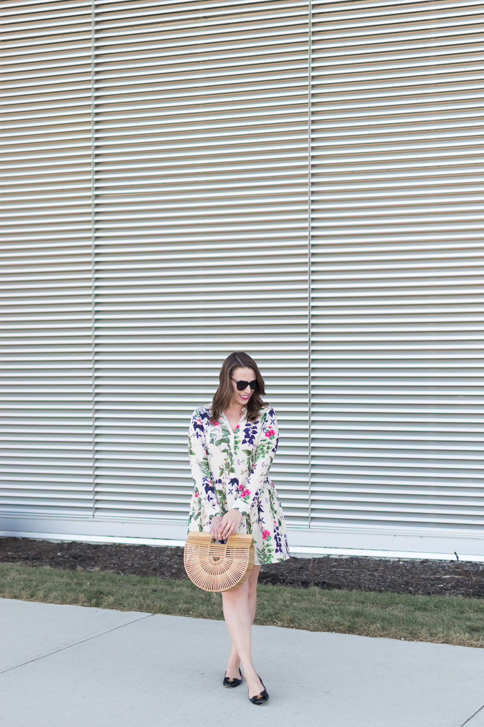 Vero Moda Drop Waist Floral Shirt Dress + Cult Gaia Ark Bag
