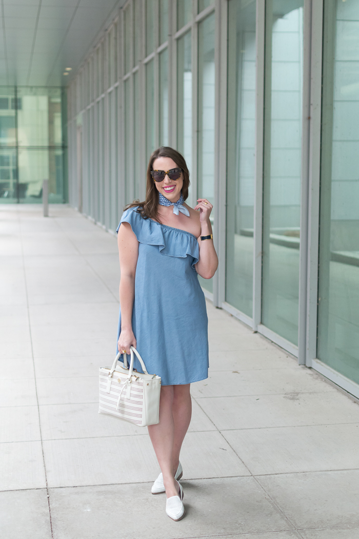 Chambray Ruffle One Shoulder Dress