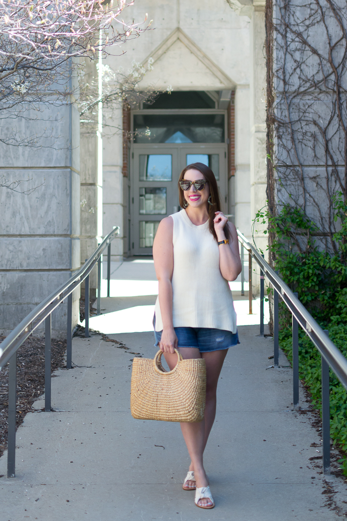 White Tunic Sweater & Denim Shorts :: Bedknobs & Baubles