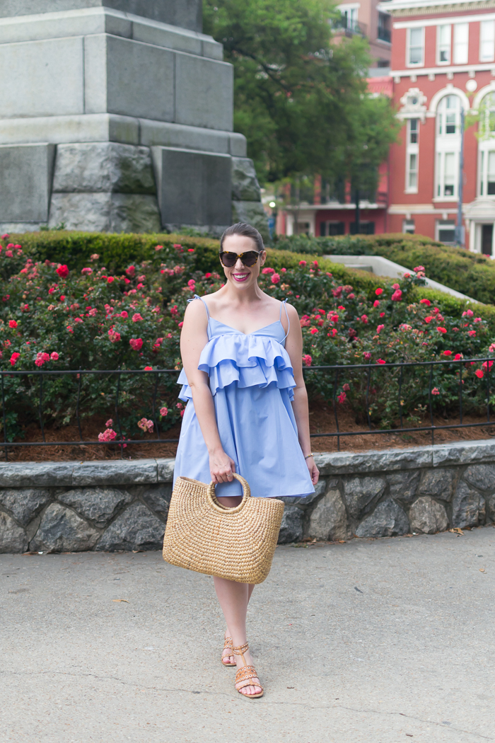 Zara Strappy Dress with Frills + Sea & Grass Market Tote :: Bedknobs & Baubles