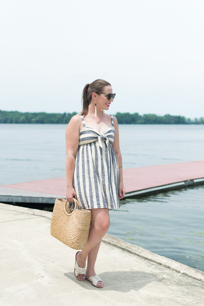Cooperative Tie-Front Striped Mini Dress