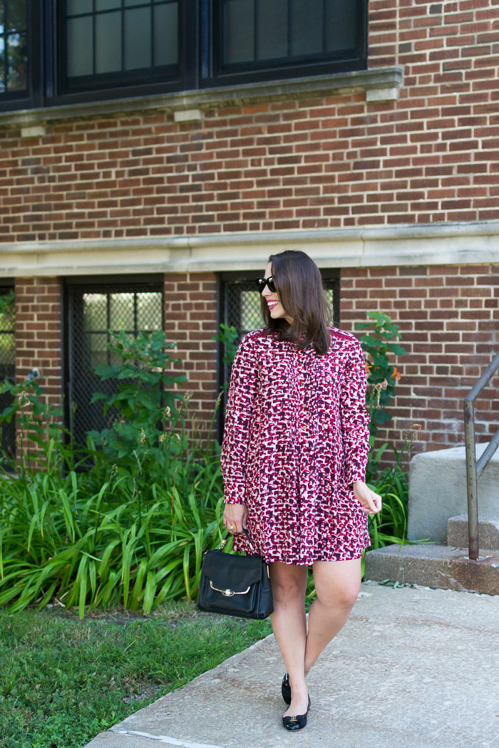 Kate Spade print brushed silk swing dress