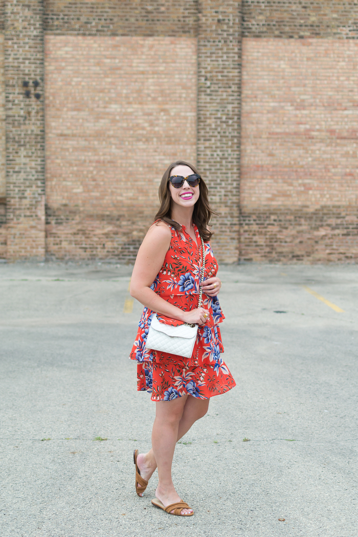 Loft Floral Tiered Dress & Ann Taylor Gretel Suede Slides