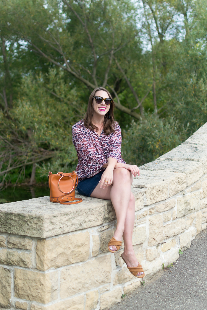 Calson Bell Sleeve Top + J.Crew Zip-front denim skirt