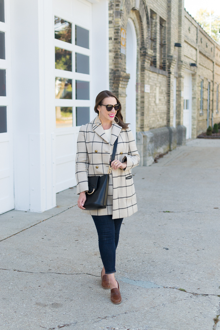 Tory Burch Plaid Coat + Madewell Elinor Loafers