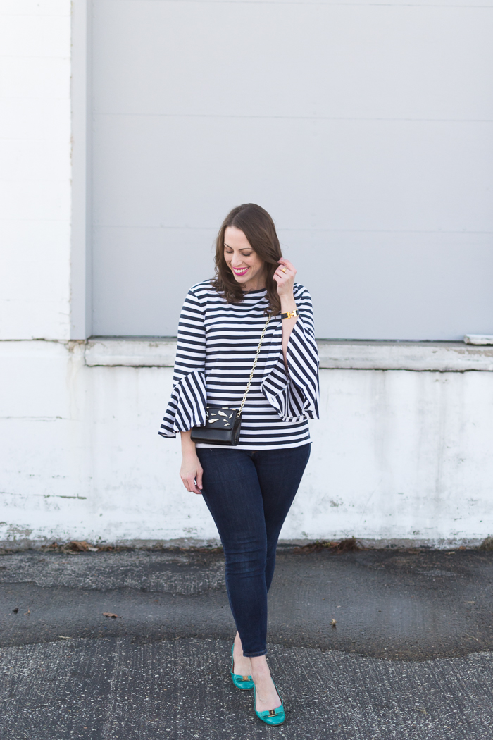 Loft Striped Bell Cuff Top