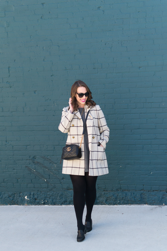 Tory Burch plaid coat + Gucci small Marmont bag