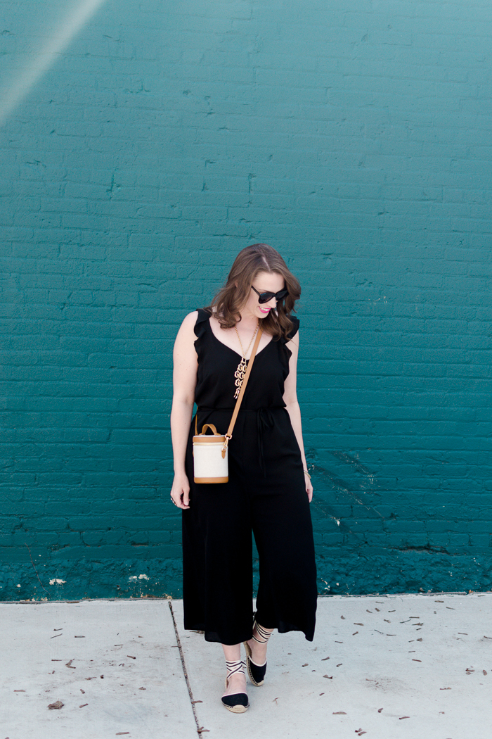 New Look Ruffle Strappy Jumpsuit + Paravel Crossbody Capsule