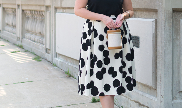 Who What Wear Women's Polka Dot Birdcage Midi Skirt